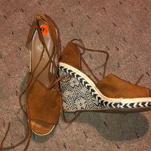 Camel suede wedge peep toe sandal